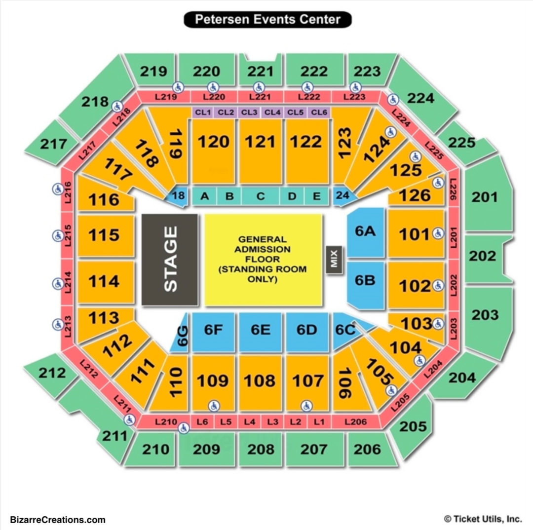 Petersen events center seating chart elcho table