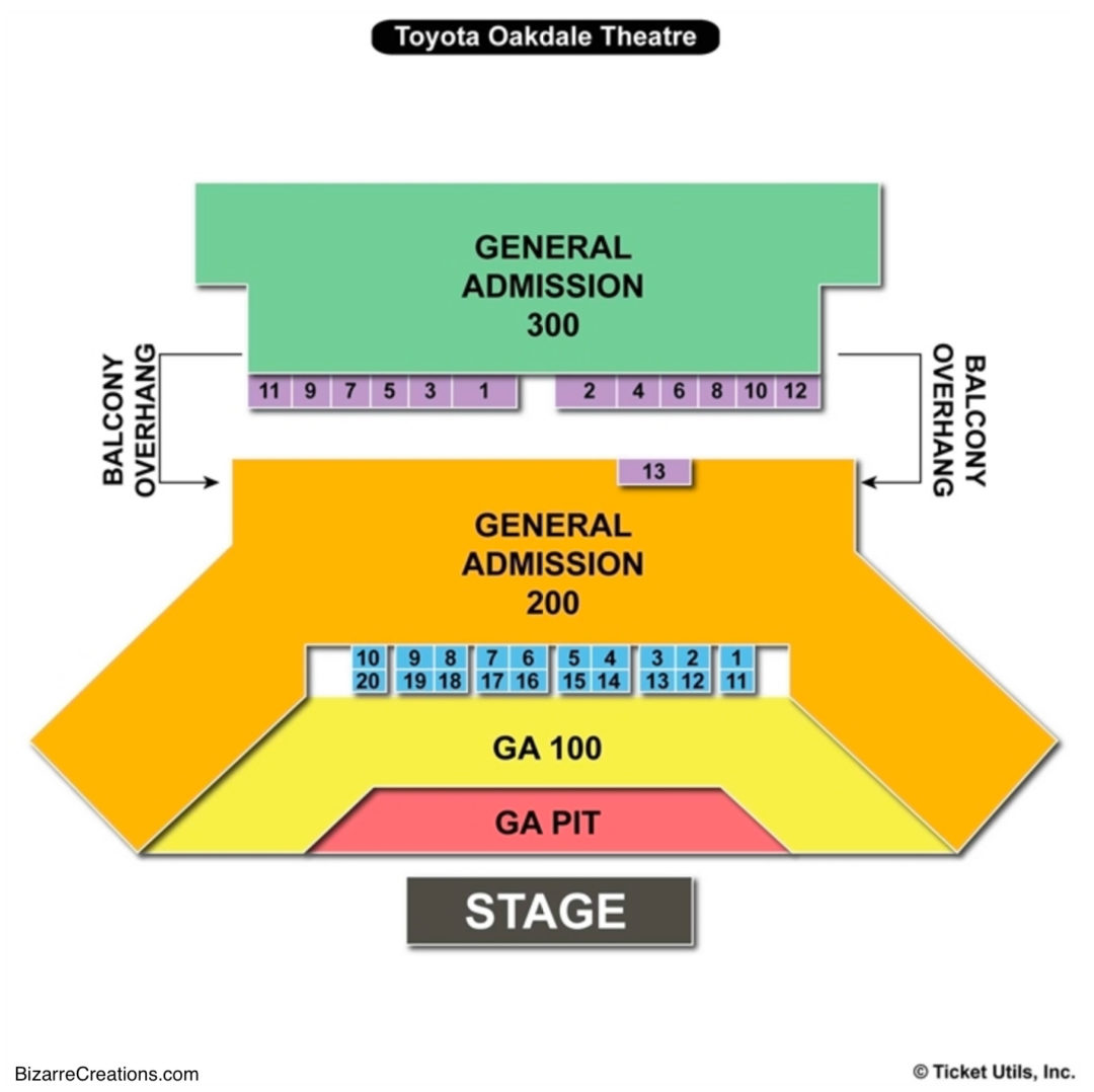 Toyota oakdale theatre seating chart seating charts tickets