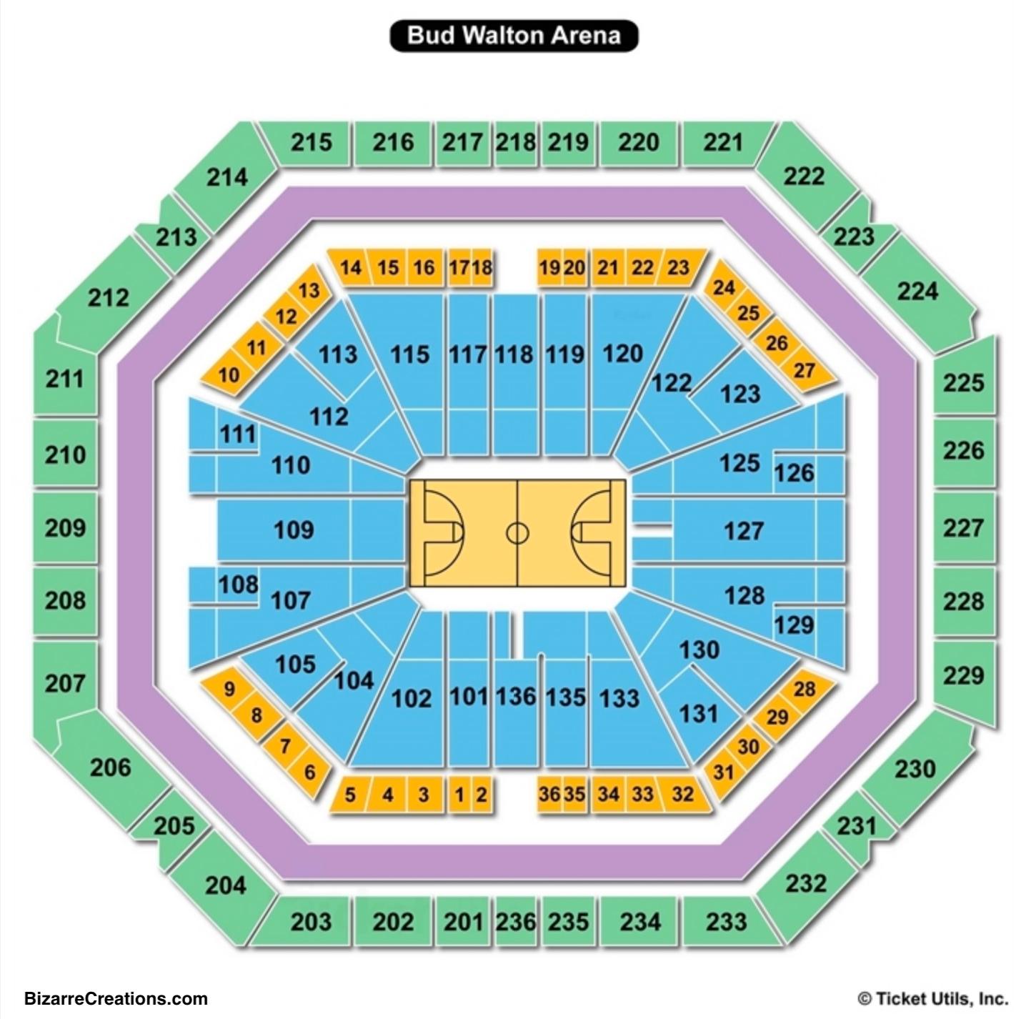 Bud Walton Arena Seating Diagram - Free Vehicle Wiring Diagrams •