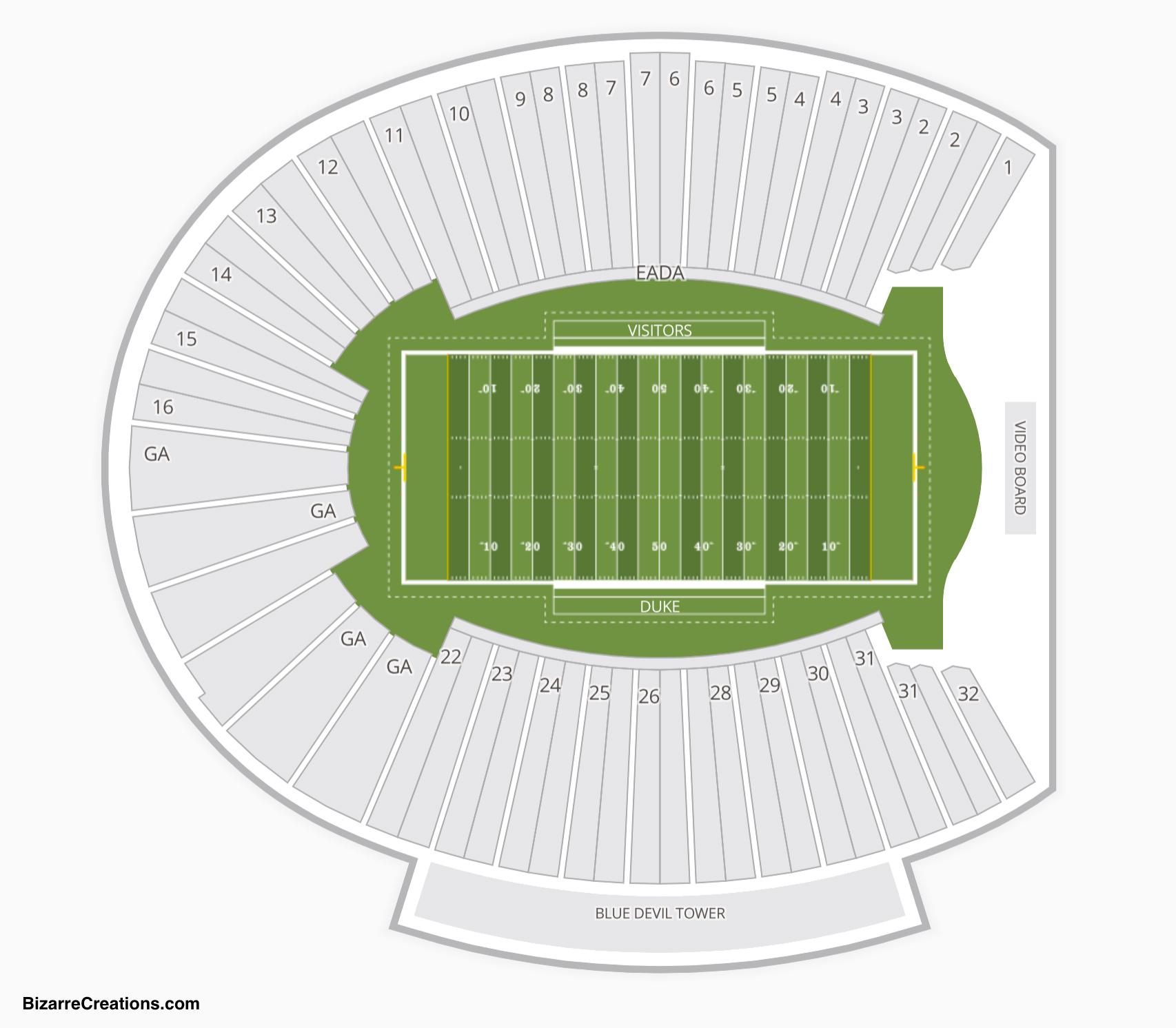 Wallace Wade Stadium Seating Chart Seating Charts Tickets