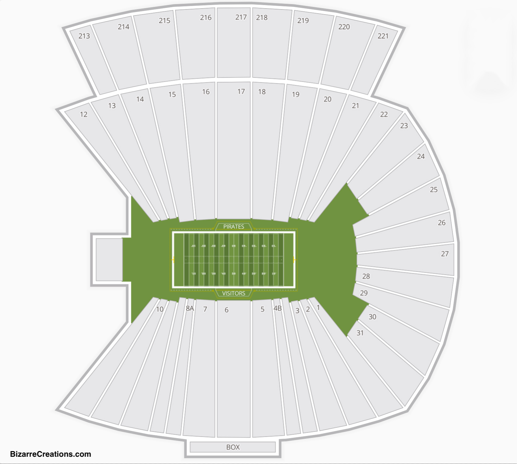 Dowdy Ficklen Stadium Seating Chart Seating Charts Amp Tickets