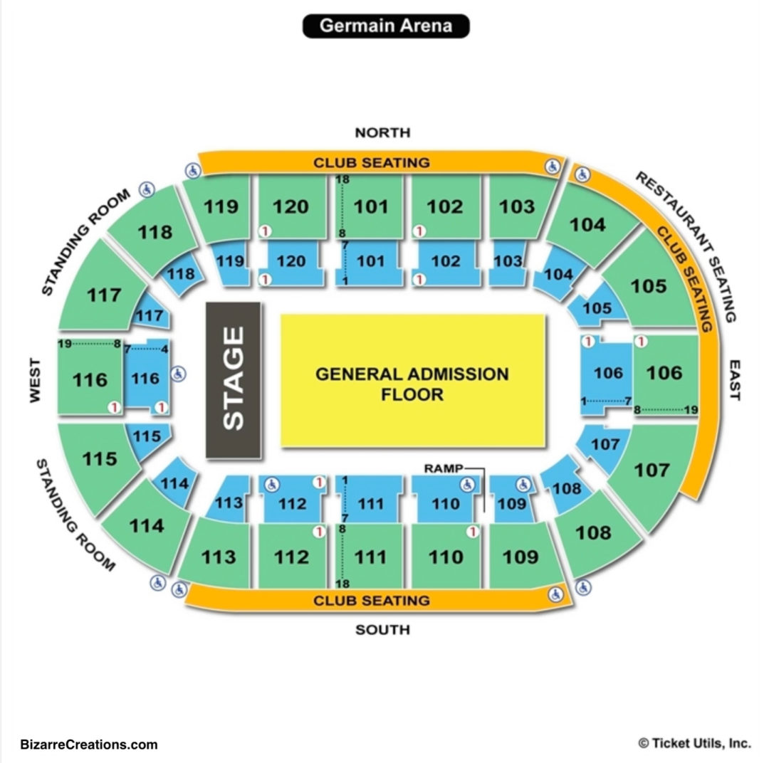 Germain arena seating chart seating charts tickets