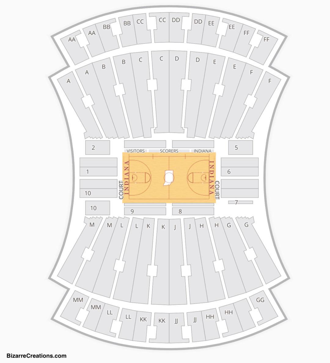 Indiana Hoosiers Basketball Seating Chart Simon Skjodt Embly Hall