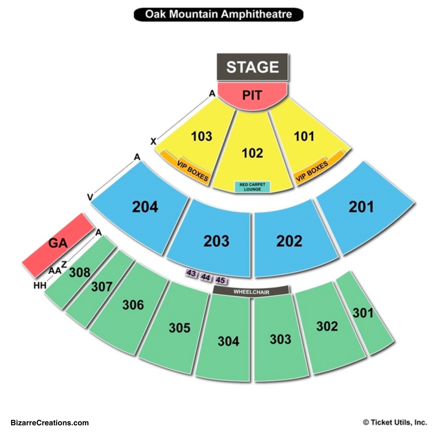 Oak Mountain Amphitheatre Seating Chart Charts Tickets Diagram Of Mountai