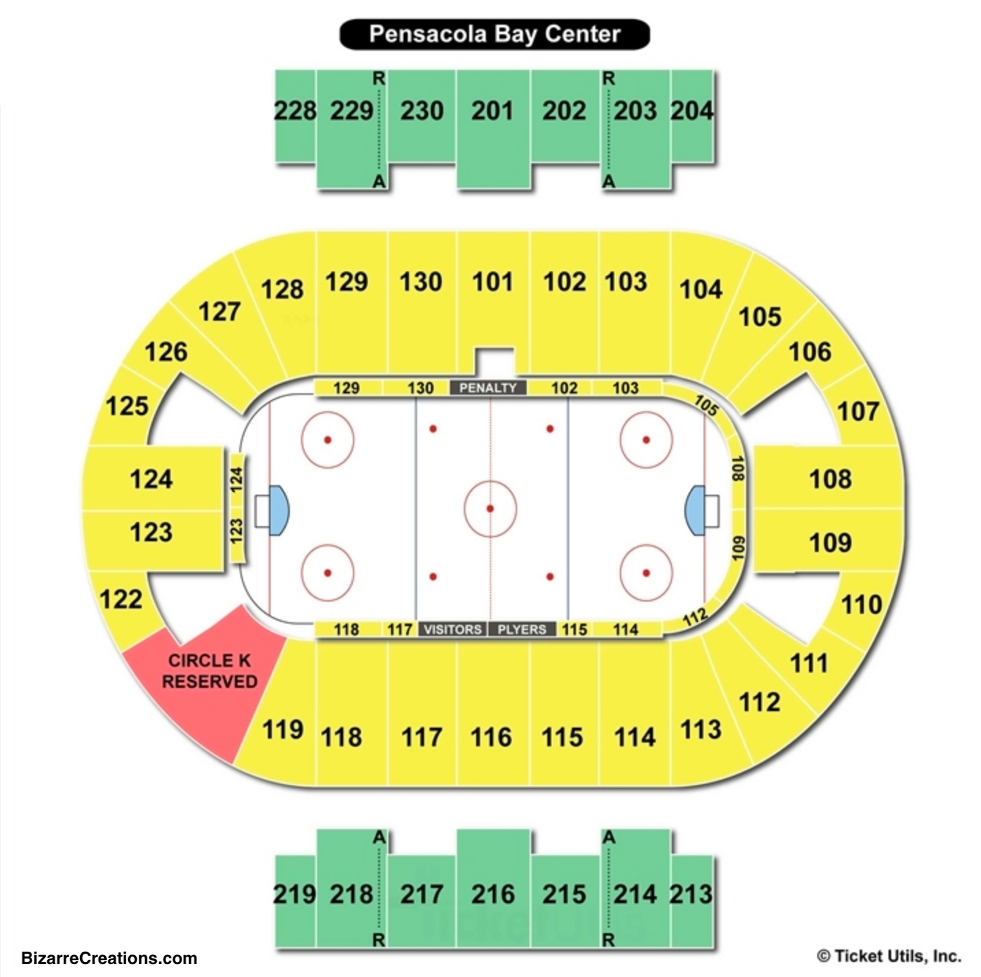 Pensacola bay center seating chart seating charts tickets