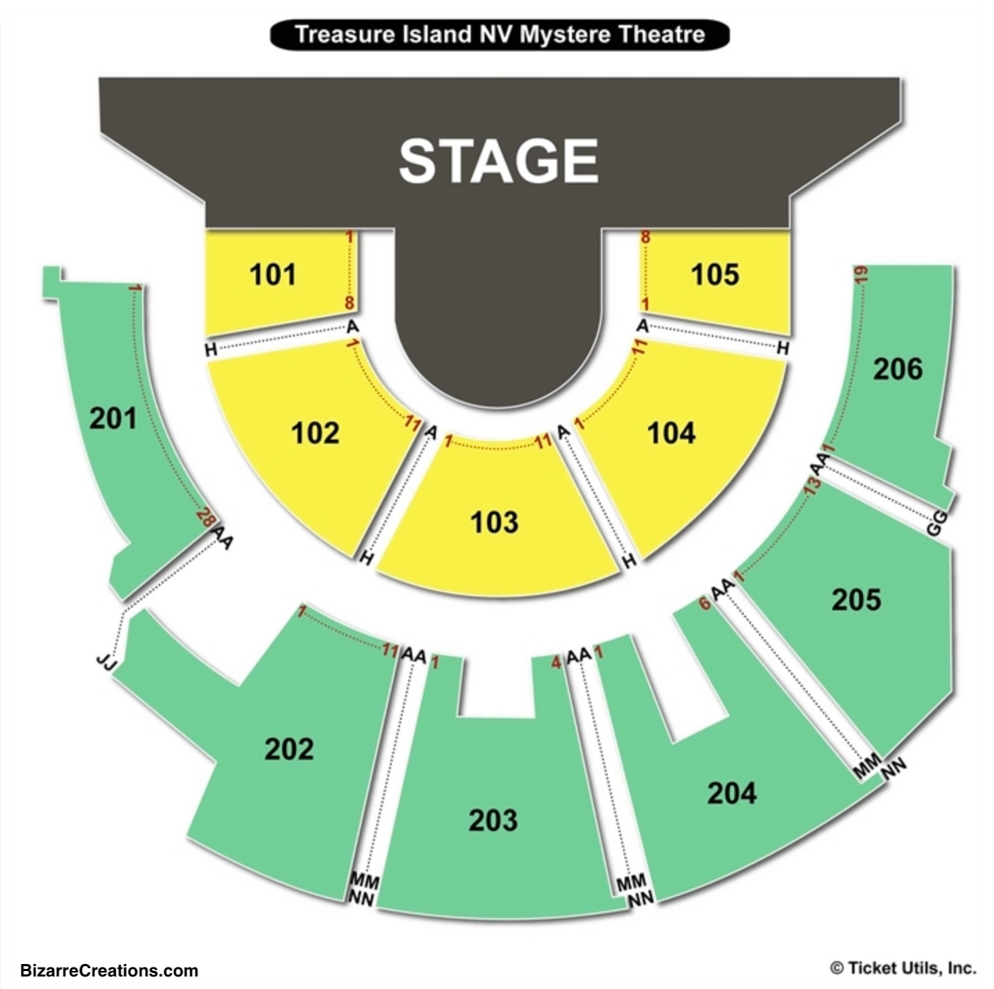 Treasure Island Mystere Theater Seating Chart Seating