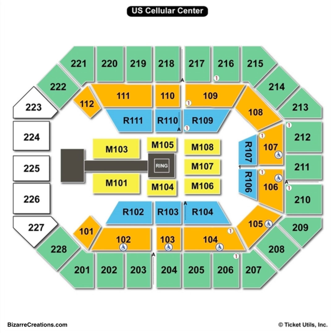 Us Cellular Center Seat Map US Cellular Center Seating Chart   Seating Charts & Tickets
