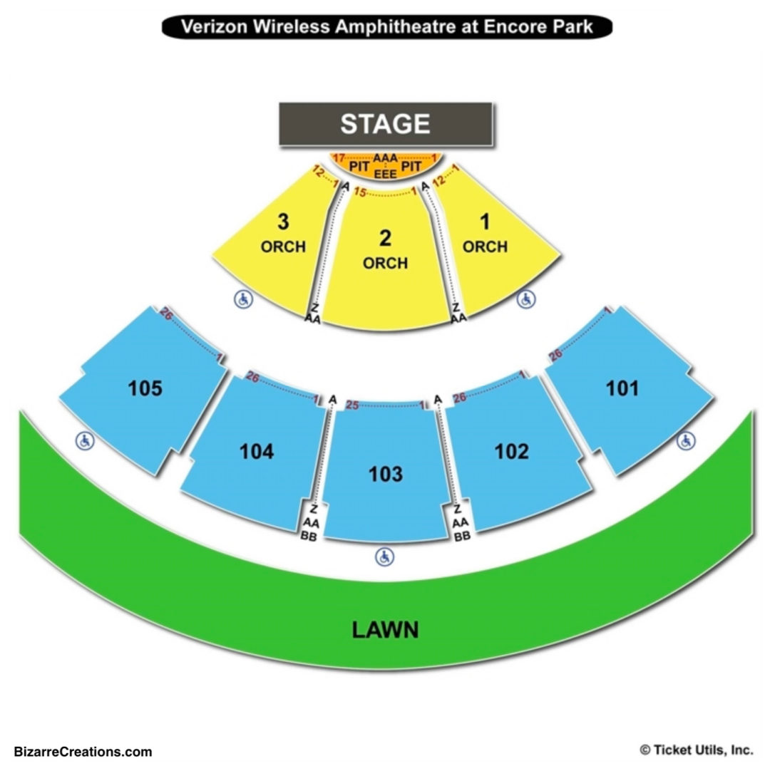 Verizon Amphitheatre Interactive Seating Chart Hollywood