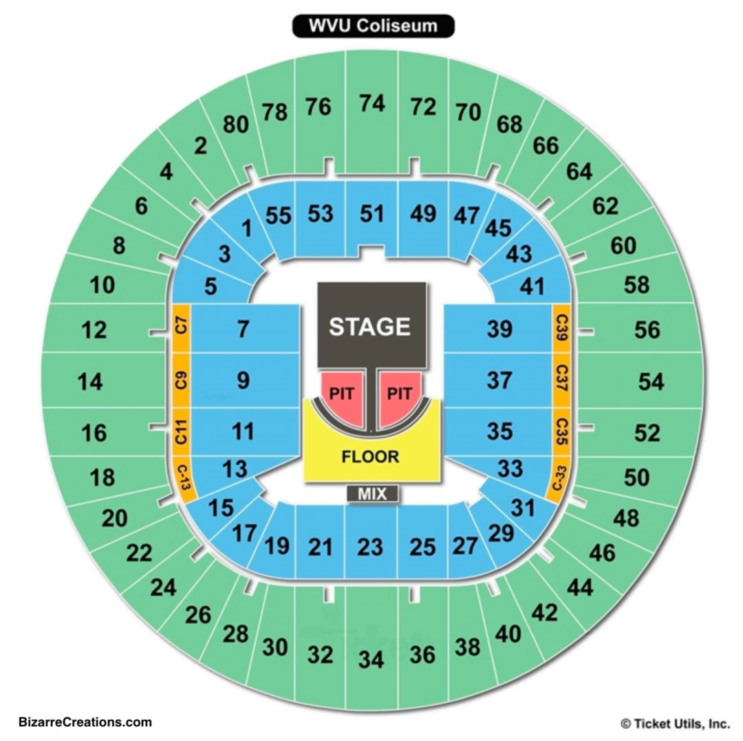 Wvu Seating Chart Elcho Table Ev10 Wiring Diagram Coliseum Concert