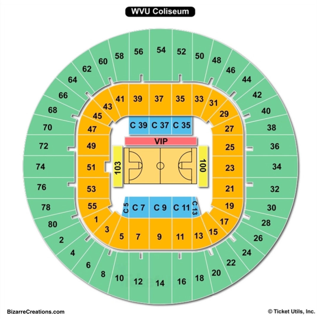 wvu coliseum seating chart seating charts tickets. Black Bedroom Furniture Sets. Home Design Ideas