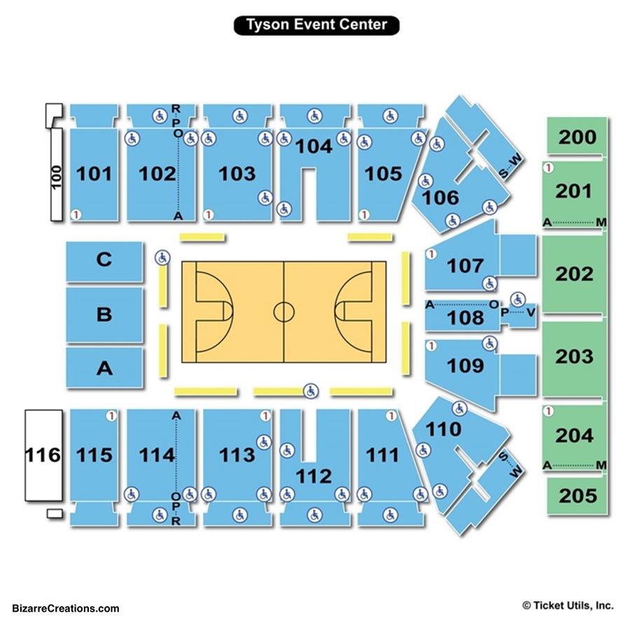 Tyson events center seating chart seating charts tickets
